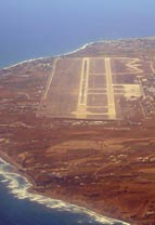 santorini airport aerial photo